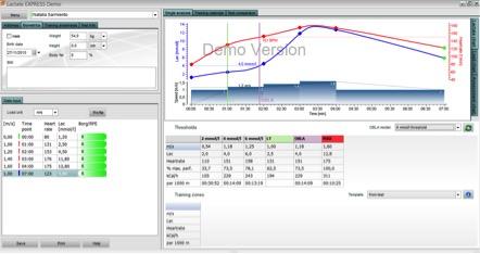 Figura 4. Análisis de Lactato y Frecuencia Cardiaca en Software Lactate Express